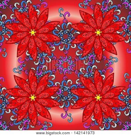 Vector red radial gradient background with vintage filigree floral pattern.