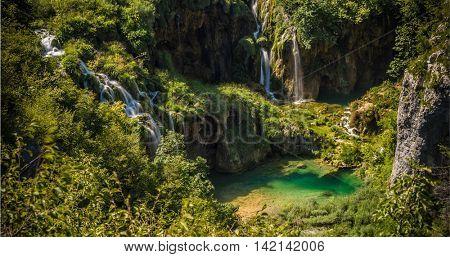 Waterfalls in National Park Plitvice Lakes. Croatia