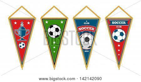 Triangle soccer pennants set isolated white. Set of football emblem, vector illustration