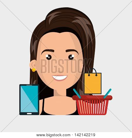 woman basket mobile money vector illustration graphic