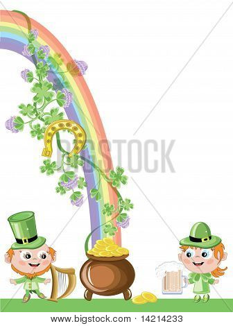 St patrick's day,leprechaun and gold pot
