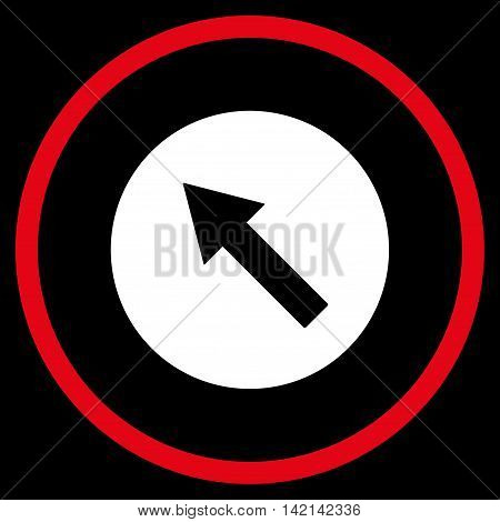Up-Left Rounded Arrow vector icon. Style is bicolor flat rounded iconic symbol, up-left rounded arrow icon is drawn with red and white colors on a black background.