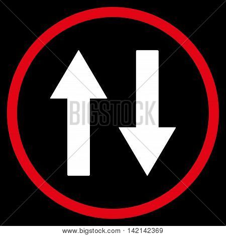 Vertical Flip Arrows vector icon. Style is bicolor flat rounded iconic symbol, vertical flip arrows icon is drawn with red and white colors on a black background.