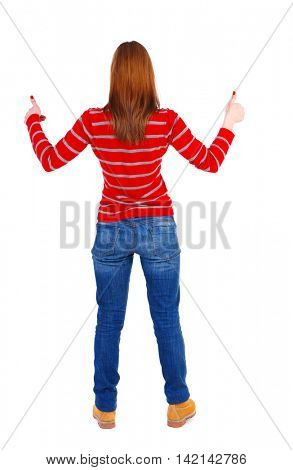 Back view of  woman thumbs up. Rear view people collection. backside view of person. Isolated over white background. The blonde in a red striped sweater is holding up both hands thumbs up.