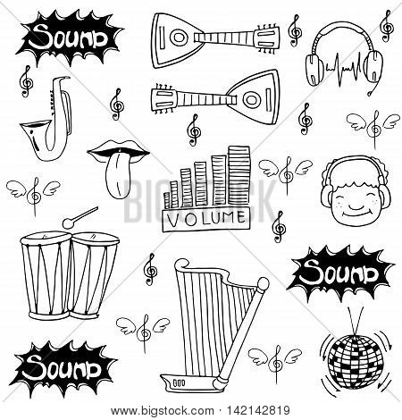 Doodle music set stock collection vector art