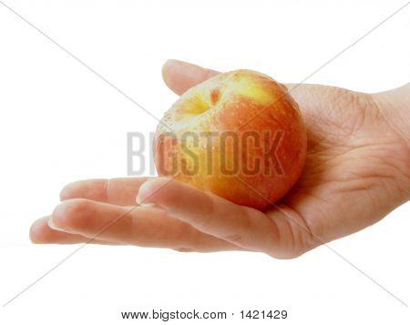 A Female Hand Holding An Apple.