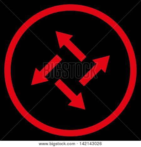 Centrifugal Arrows vector icon. Style is flat rounded iconic symbol, centrifugal arrows icon is drawn with red color on a black background.