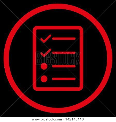 Checklist Page vector icon. Style is flat rounded iconic symbol, checklist page icon is drawn with red color on a black background.