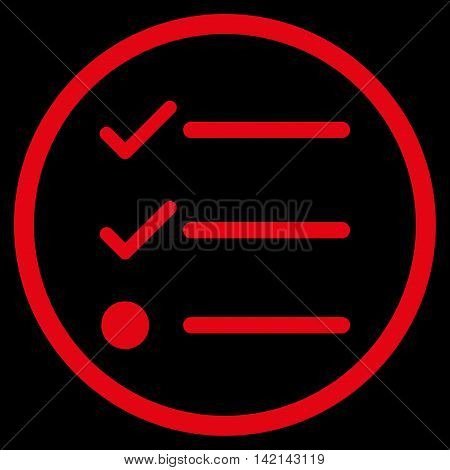 Checklist vector icon. Style is flat rounded iconic symbol, checklist icon is drawn with red color on a black background.
