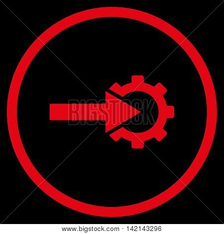 Cog Integration vector icon. Style is flat rounded iconic symbol, cog integration icon is drawn with red color on a black background.