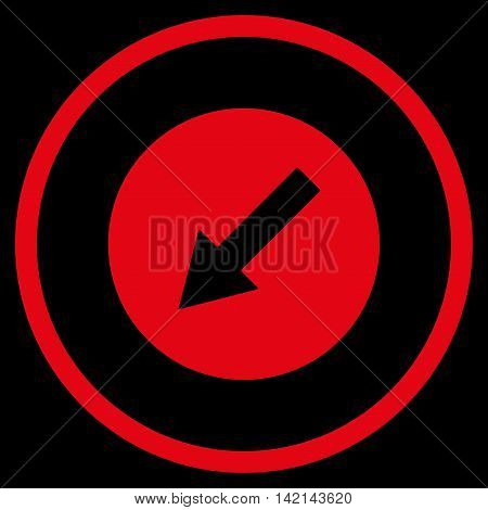 Down-Left Rounded Arrow vector icon. Style is flat rounded iconic symbol, down-left rounded arrow icon is drawn with red color on a black background.