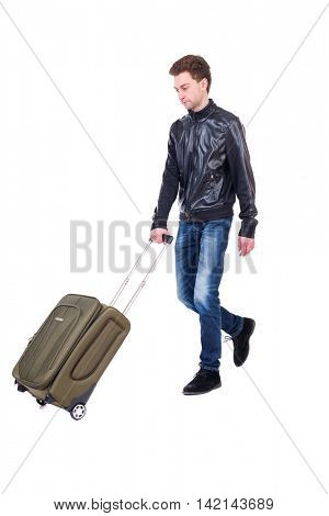 front  view of walking  man  with suitcase.  brunette guy in motion. backside view of person.  Rear view people collection. Isolated over white background. Curly guy in a black leather jacket in front