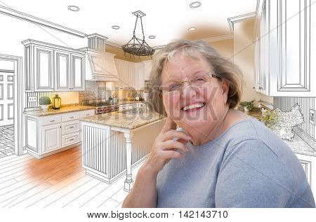 Happy Senior Woman Over Custom Kitchen Design Drawing and Photo.