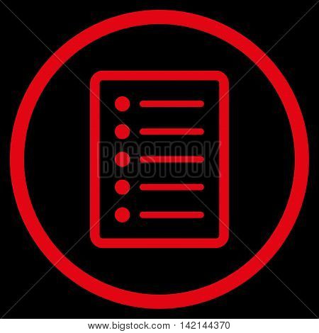 List Page vector icon. Style is flat rounded iconic symbol, list page icon is drawn with red color on a black background.