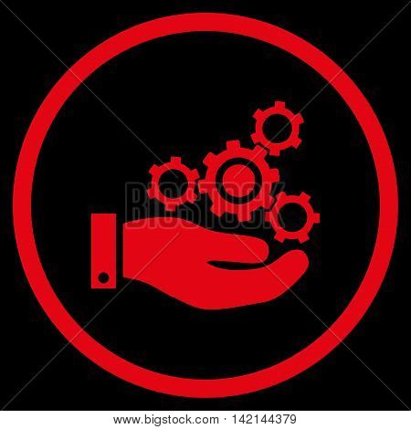 Mechanics Service vector icon. Style is flat rounded iconic symbol, mechanics service icon is drawn with red color on a black background.