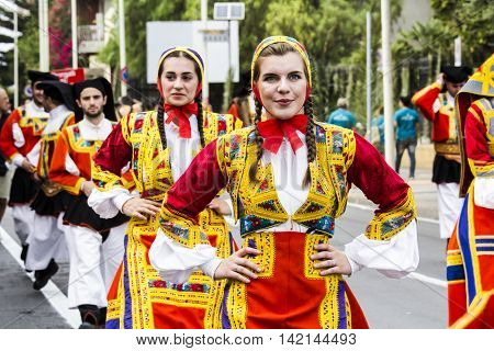 SELARGIUS, ITALY - September 13, 2015: Former marriage Selargino - Sardinia - portrait of a beautiful girl with the traditional Sardinian costume folk group St. Anthony Abate Desulo.