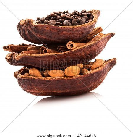 Benefits of drinking hot cocoa and aromatherapy of cocoa, cinnamon, coffee for morning refreshment, Arranged so fragrant in the morning.