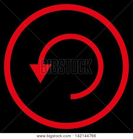 Rotate Ccw vector icon. Style is flat rounded iconic symbol, rotate ccw icon is drawn with red color on a black background.