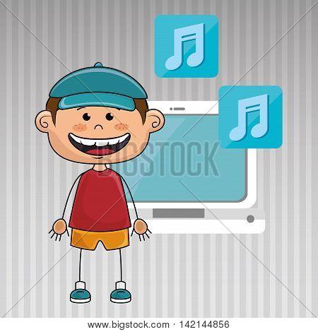 boy computer apps web vector illustration graphic