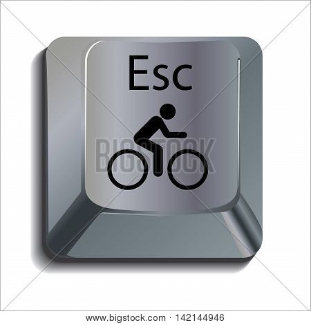 Cyclist Escape Shiny Computer Key Button Concept