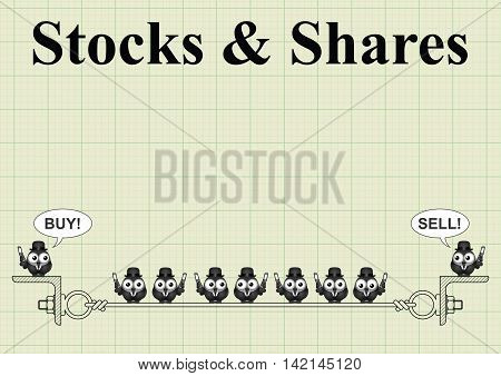 Stock and shares with city traders buying and selling on graph  paper background with copy space for own text