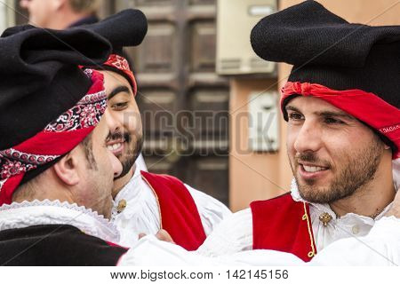 CAGLIARI, ITALY - May 1, 2016: 360 ^ Sant'Efisio Festival - Sardinia - group of people in traditional Sardinian costume