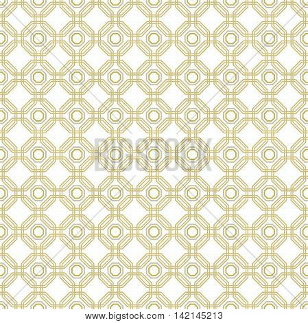 Geometric fine abstract vector octagonal background. Seamless modern pattern. Golden and white pattern