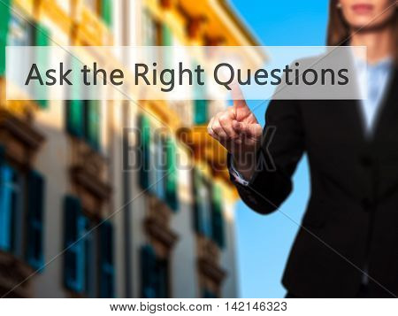 Ask The Right Questions - Isolated Female Hand Touching Or Pointing To Button