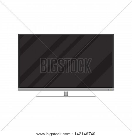 Frontal view of modern widescreen led or lcd tv. vector illustration in flat style