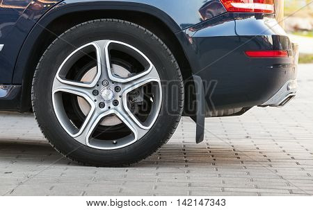 Car Wheel With Mercedes Benz Logotype