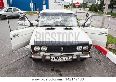 Crushed White Vaz-2106 Car, Front View