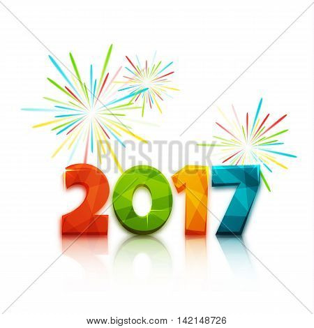 Happy new year 2017. Text design of 2017 letter with bright colors. Vector New Year illustration. 2017 letter on white background with firecracker behind 2017