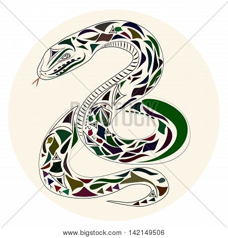 Vector flat Illustration of snake on white background.