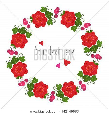 Summer card with floral wreath. The frame can be used as card making wedding invitations birthday or other celebration and photo frames.