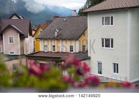 Beautiful austrian village in mountains in summer