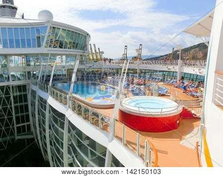 Barcelona Spain - September 06 2015: The cruise ship Allure of the Seas The Royal Caribbean International. The view of the upper deck of ship