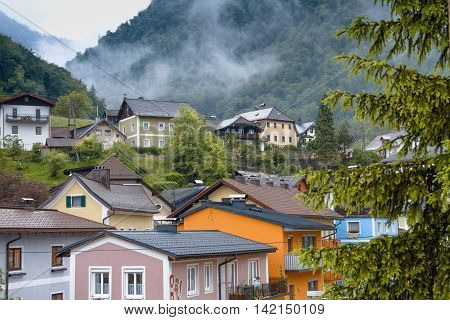 Austrian houses in the mountains in alps
