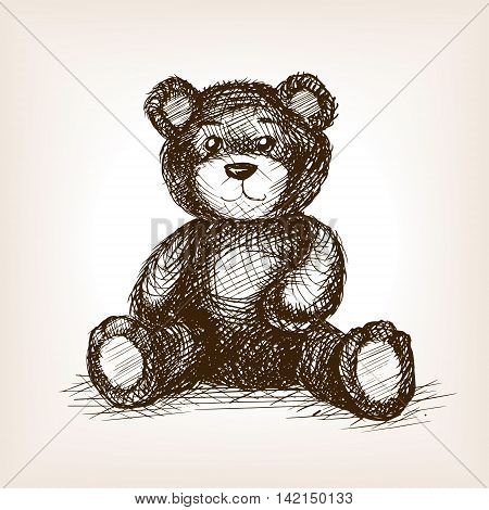 Teddy bear toy sketch style vector illustration. Old engraving imitation. Hand drawn sketch imitation
