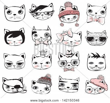 Vintage poster with stylish cat avatars. Vector trendy hipster style for greeting card design, t-shirt print
