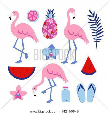 Summer tropical graphic elements. Flamingo birds. Jungle floral illustrations palm leaves orchid flowers pineapple and watermelon. Isolated illustrations flat design. stock vector