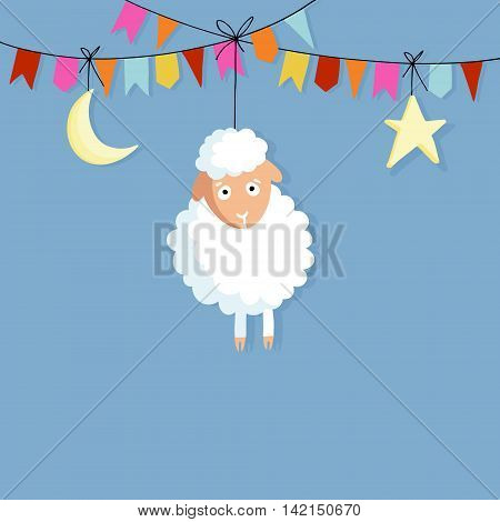 Eid al Adha. Hand drawn sheep with party flags moon and star. Vector illustration backgroud for Muslim holiday of sacrifice. Flat design.