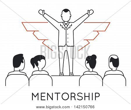Linear Concept of Mentorship Career Progress Business People Training and Professional Consulting Service