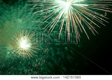 Show With Big Colorful Fireworks In The Night