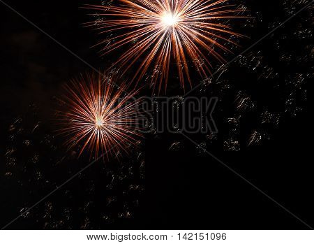Big Colorful Fireworks In The Dark Night