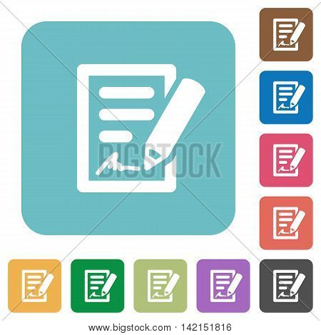 Flat signing contract icons on rounded square color backgrounds.