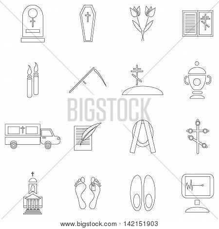 Outline death and funeral icons set. Universal death and funeral icons to use for web and mobile UI, set of basic death and funeral elements isolated vector illustration