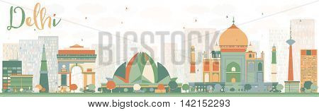 Abstract Delhi Skyline with Color Landmarks. Business Travel and Tourism Concept with Historic Buildings. Image for Presentation, Banner, Placard and Web Site.