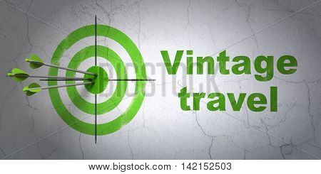 Success travel concept: arrows hitting the center of target, Green Vintage Travel on wall background, 3D rendering