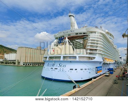 Barselona Spaine - September 06 2015: Royal Caribbean Allure of the Seas is in port at startup in Barselona on September 6 2015. The view from the stern of the ship