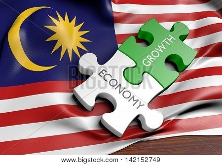Malaysia economy and financial market growth concept, 3D rendering